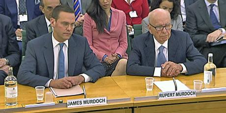 James and Rupert Murdoch giving evidence