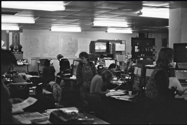 The IRN intake news desk in 1982