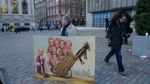 Political Satire Art at Leveson 'verdict'  London painter Kaya Mar
