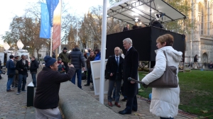 Max Mosley deftly negotiates with a heckler outside Leveson Report building