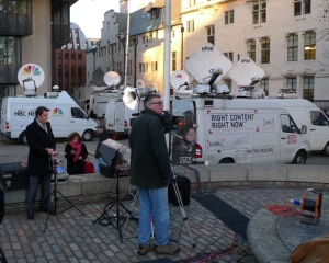 NBC's Keir Simmons prepares for live 2-way to USA on Leveson Report