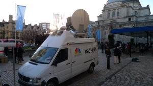 International media interest in UK's press woes. NBC's OB van