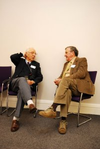 The late Dr. Fred Hunter (right) talking to the late Tom Welsh (left) who founded journalism studies at City University