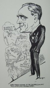 Caricature of Tom Clarke, the director of Britain's first University Journalism diploma 1936-39.