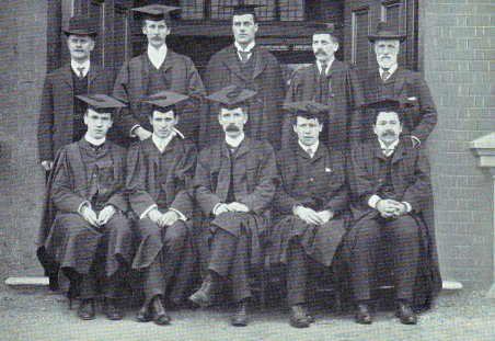 The first academic male faculty at Goldsmiths, University of London in 1905 with Warden William Loring standing middle of the back row.
